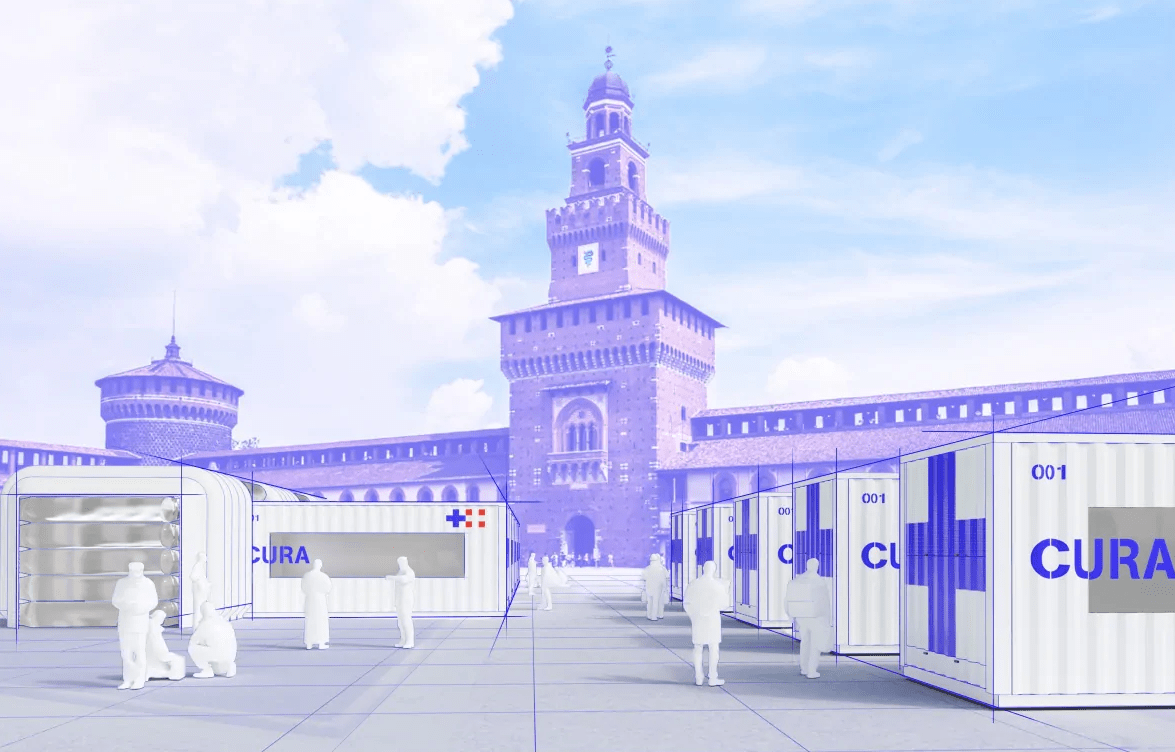 Concept art of multiple CURA units bolstering a city's ICU capacity. Images Courtesy of Carlo Ratti Associati