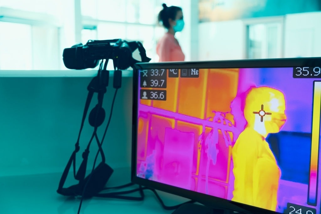 COVID-19 Infrared thermal imaging, scanning for health in an office